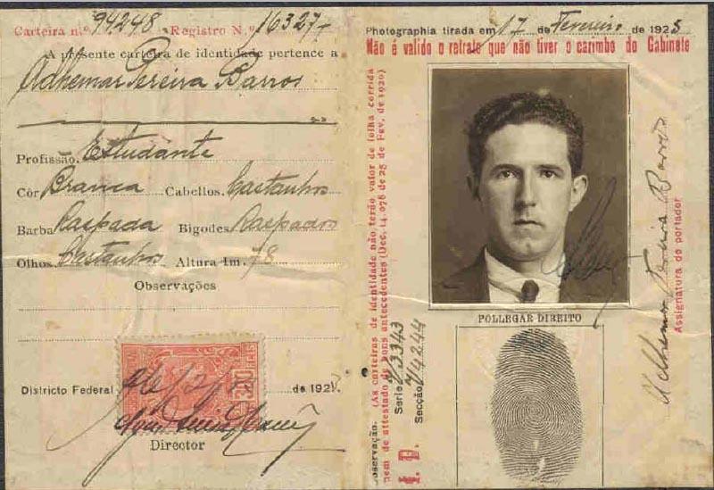 Documento de Identidade de Ademar de Barros. Arquivo Público do Estado de São Paulo/arq. Ademar de Barros