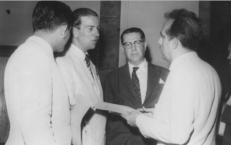 Arnaldo Sussekind, Alírio Sales Coelho e José Gomes Talarico. S.l., 9 de janeiro de 1962. Arquivo Público do Estado de São Paulo/Última Hora.