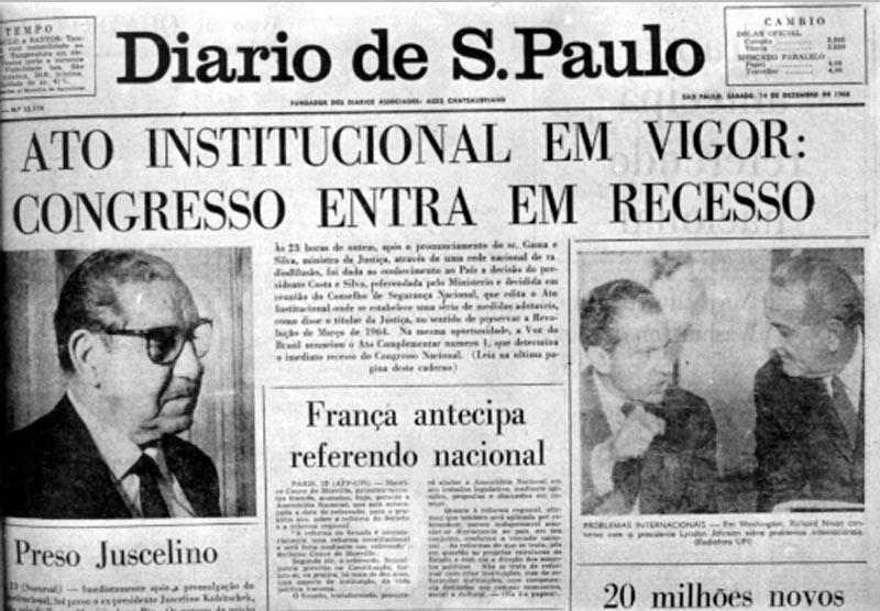 Fac-símile do Diário de S. Paulo quando da divulgação do AI-5. 14 de dezembro de 1968.