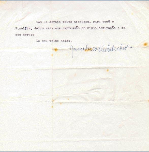 Carta de Juscelino Kubitsheck a Tancredo Neves. Nova Iorque, 02 de maio de 1966. FGV/CPDOC. Arq. Tancredo Neves.
