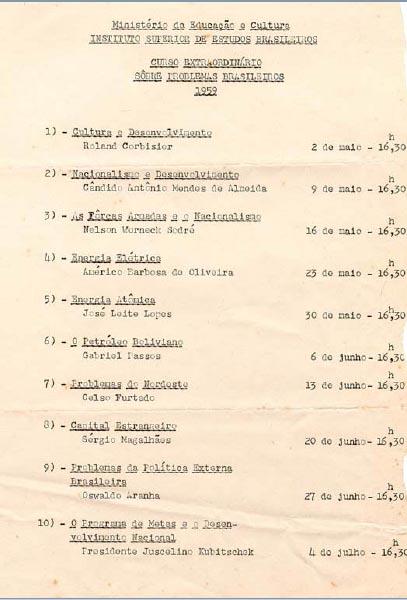 """Programa do curso """"Introdução aos Problemas Brasileiros"""", promovido pelo ISEB. FGV/CPDOC, Arq. Oswaldo Aranha."""